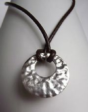 Stunning Handmade OOAK Fine Silver 999 Hammered Finish Circle Circular Pendant